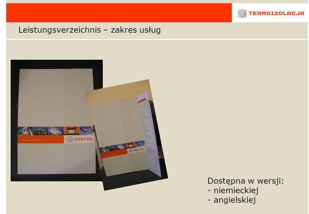 Leistungsverzeichnis – zakres usług Dostępna w wersji: - niemieckiej - angielskiej