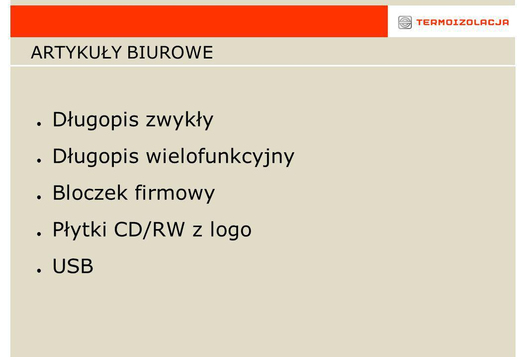 Srebrny długopis z czerwonymi elementami z logo Cena 1,36 zł/szt.