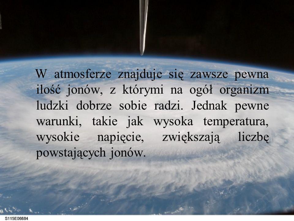 W atmosferze znajduje się zawsze pewna ilość jonów, z którymi na ogół organizm ludzki dobrze sobie radzi. Jednak pewne warunki, takie jak wysoka tempe
