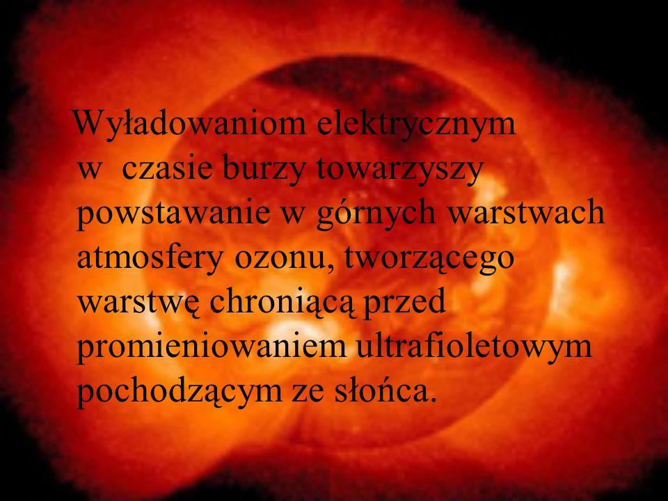 Wyładowaniom elektrycznym w czasie burzy towarzyszy powstawanie w górnych warstwach atmosfery ozonu, tworzącego warstwę chroniącą przed promieniowanie