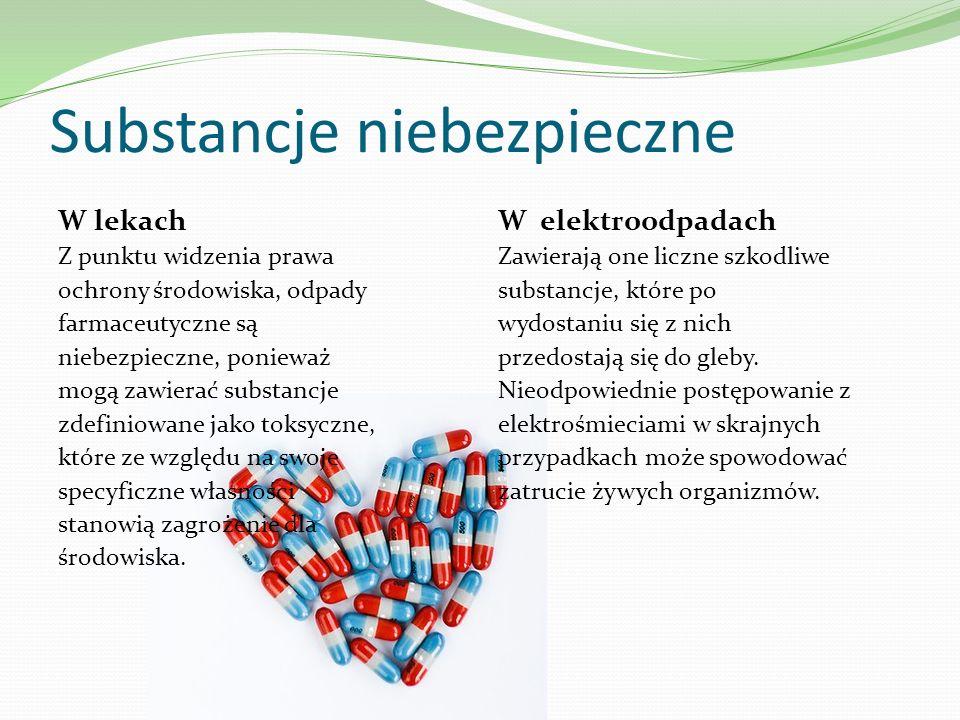 Substancje niebezpieczne W lekach Z punktu widzenia prawa ochrony środowiska, odpady farmaceutyczne są niebezpieczne, ponieważ mogą zawierać substancj