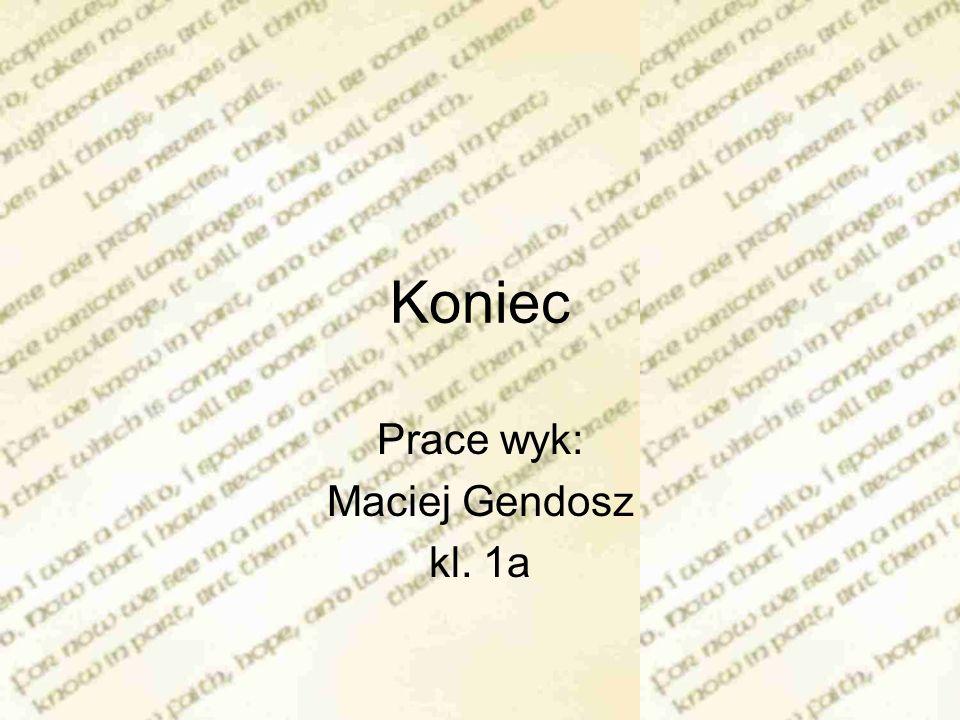 Koniec Prace wyk: Maciej Gendosz kl. 1a
