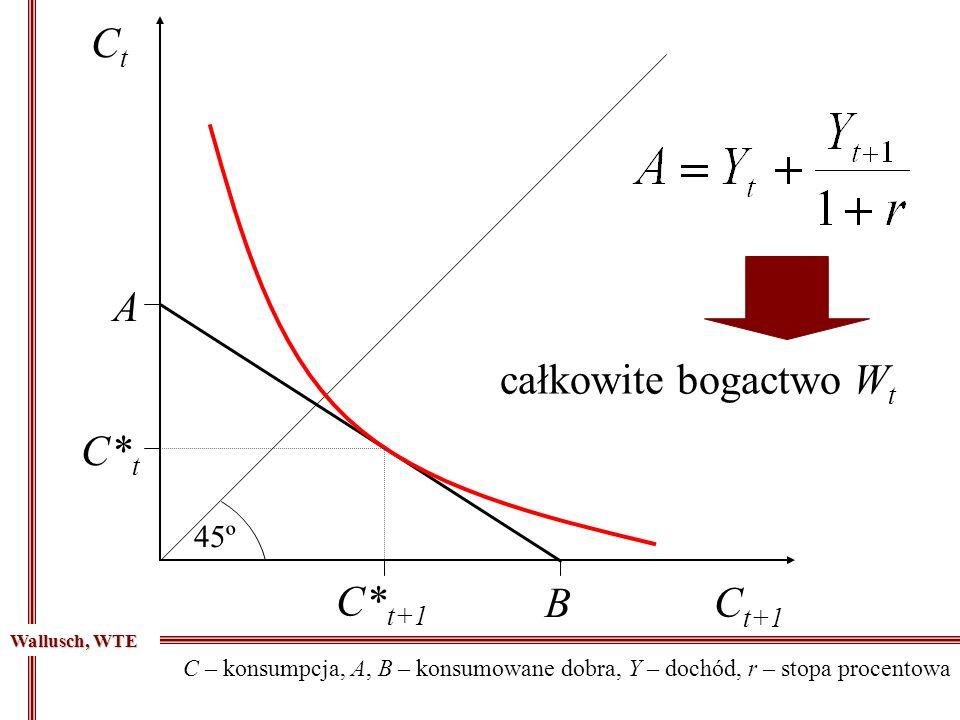 45º CtCt C t+1 C* t C* t+1 B A całkowite bogactwo W t C – konsumpcja, A, B – konsumowane dobra, Y – dochód, r – stopa procentowa Wallusch, WTE