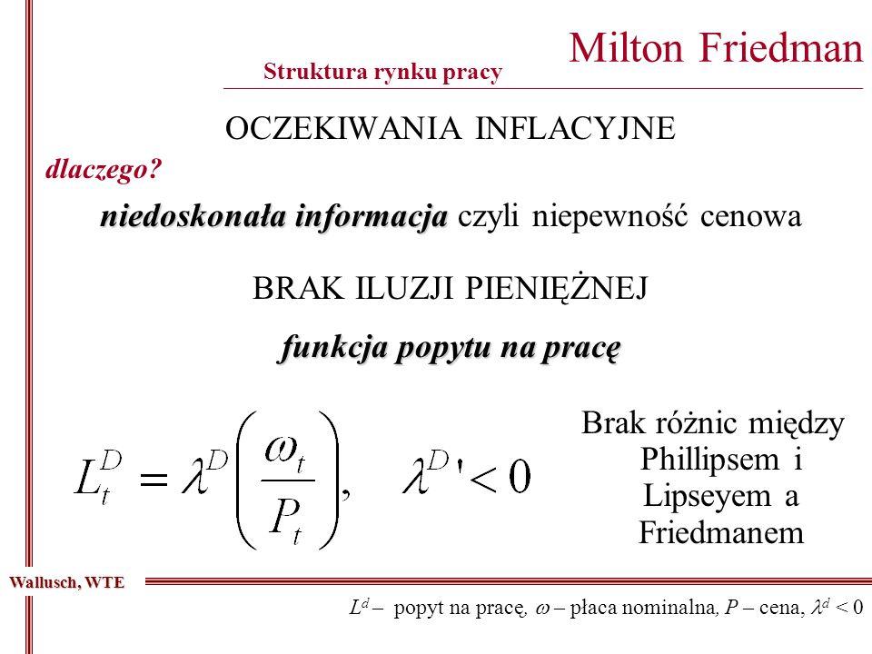 OCZEKIWANIA INFLACYJNE Milton Friedman ________________________________________________________________________________________ Struktura rynku pracy niedoskonała informacja niedoskonała informacja czyli niepewność cenowa Wallusch, WTE dlaczego.