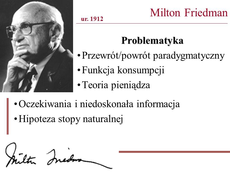 Problematyka Przewrót/powrót paradygmatyczny Funkcja konsumpcji Teoria pieniądza Milton Friedman _______________________________________________________________________________ ur.