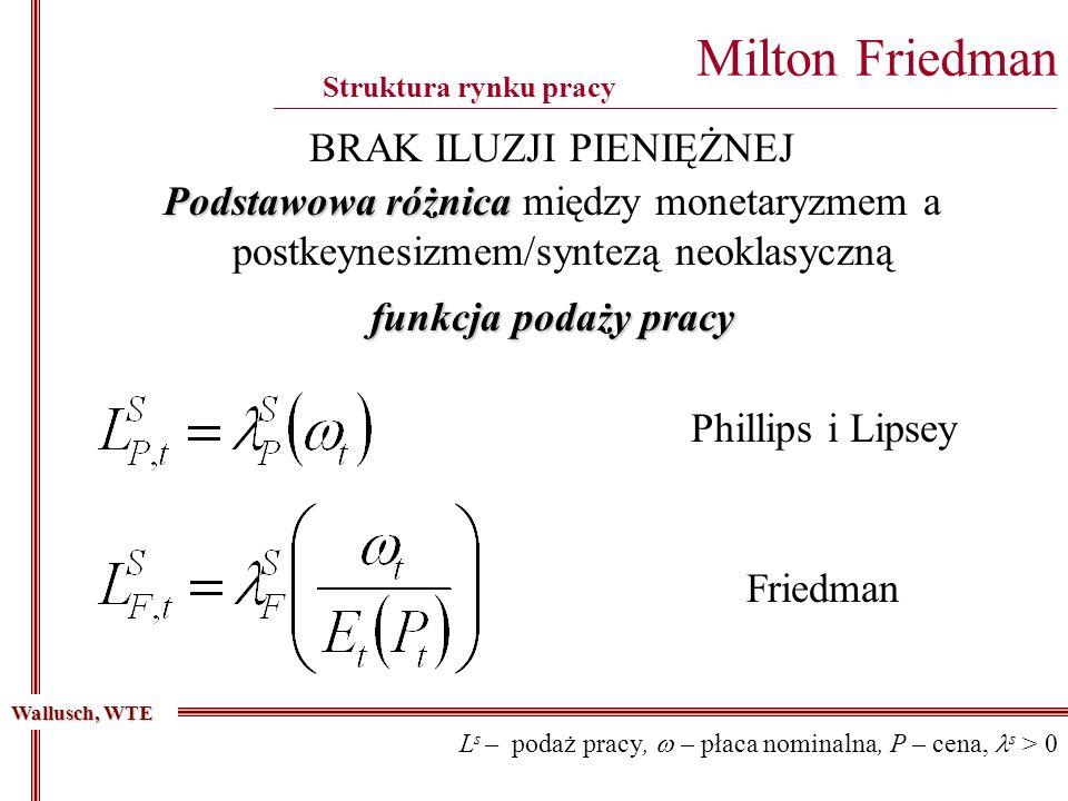 Milton Friedman ________________________________________________________________________________________ Struktura rynku pracy Podstawowa różnica Podstawowa różnica między monetaryzmem a postkeynesizmem/syntezą neoklasyczną Wallusch, WTE BRAK ILUZJI PIENIĘŻNEJ funkcja podaży pracy L s – podaż pracy, – płaca nominalna, P – cena, s > 0 Phillips i Lipsey Friedman