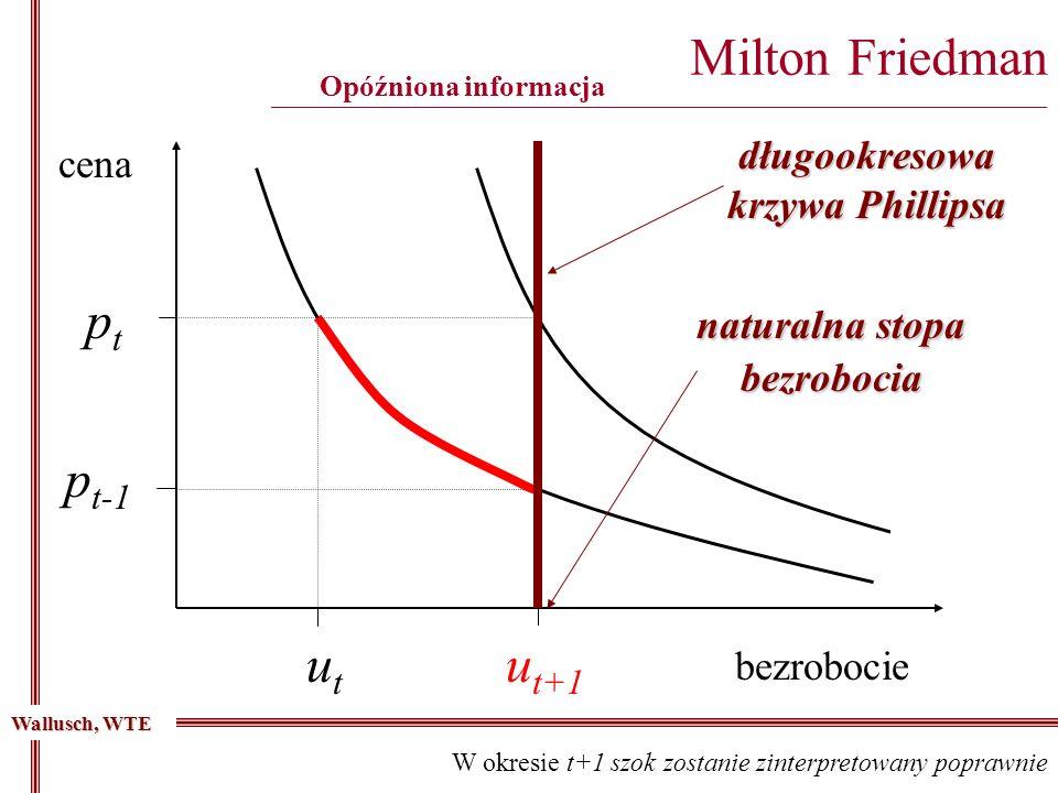 Milton Friedman ________________________________________________________________________________________ Opóźniona informacja cena bezrobocie u t-1 p t-1 ptpt utut Wallusch, WTE W okresie t+1 szok zostanie zinterpretowany poprawnie u t+1 długookresowa krzywa Phillipsa naturalna stopa bezrobocia