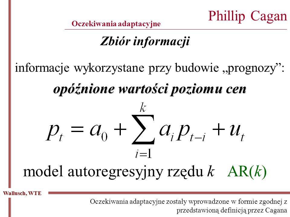 Zbiór informacji informacje wykorzystane przy budowie prognozy: opóźnione wartości poziomu cen model autoregresyjny rzędu k AR(k) Phillip Cagan ____________________________________________________________________________________________ Oczekiwania adaptacyjne Wallusch, WTE Oczekiwania adaptacyjne zostały wprowadzone w formie zgodnej z przedstawioną definicją przez Cagana