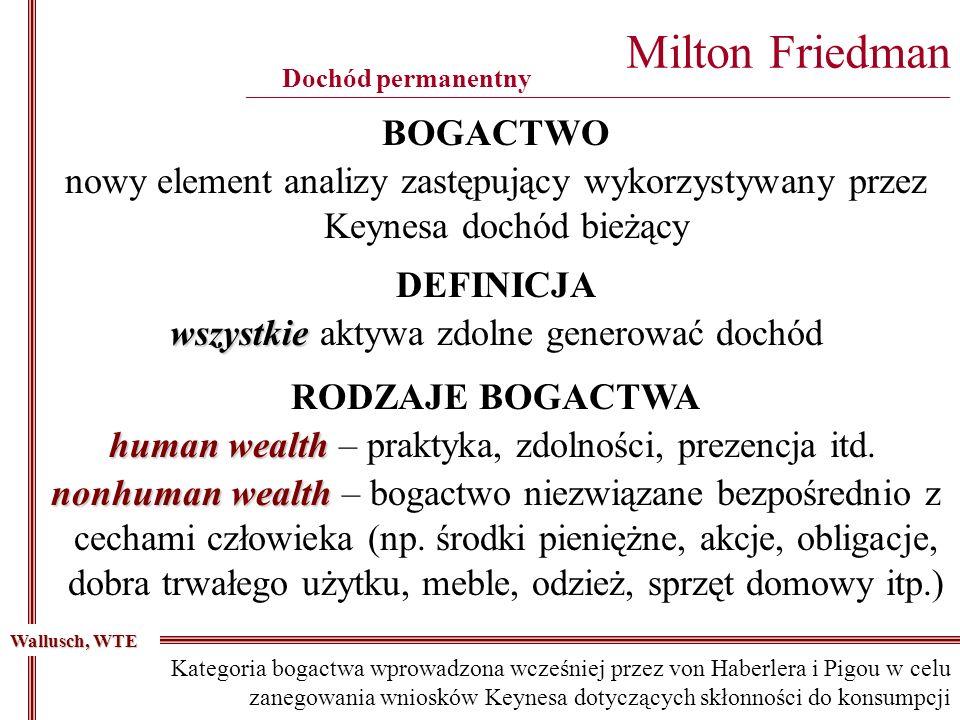 Milton Friedman ________________________________________________________________________________________ Dochód permanentny BOGACTWO wszystkie wszystkie aktywa zdolne generować dochód DEFINICJA Wallusch, WTE nowy element analizy zastępujący wykorzystywany przez Keynesa dochód bieżący RODZAJE BOGACTWA human wealth human wealth – praktyka, zdolności, prezencja itd.