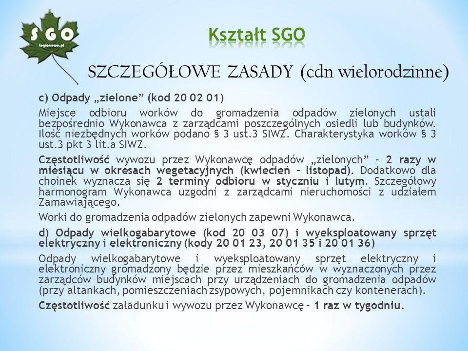 c) Odpady zielone (kod 20 02 01) Miejsce odbioru worków do gromadzenia odpadów zielonych ustali bezpośrednio Wykonawca z zarządcami poszczególnych osi