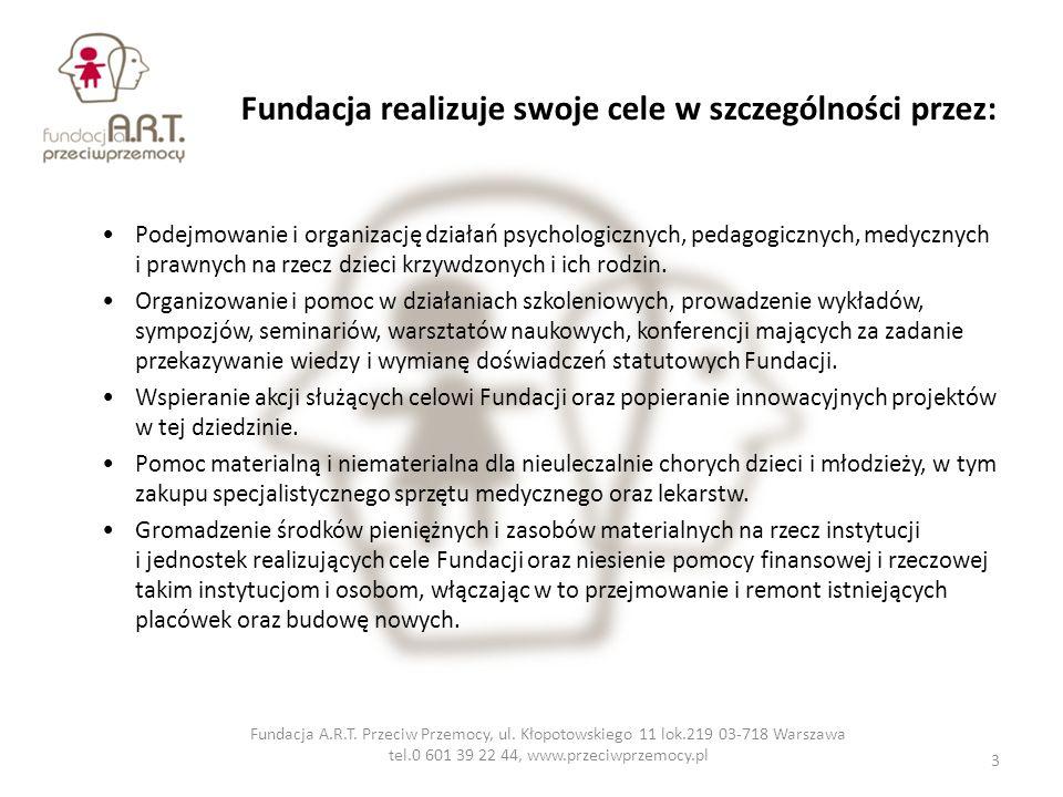 Fundacja realizuje swoje cele w szczególności przez: Podejmowanie i organizację działań psychologicznych, pedagogicznych, medycznych i prawnych na rze