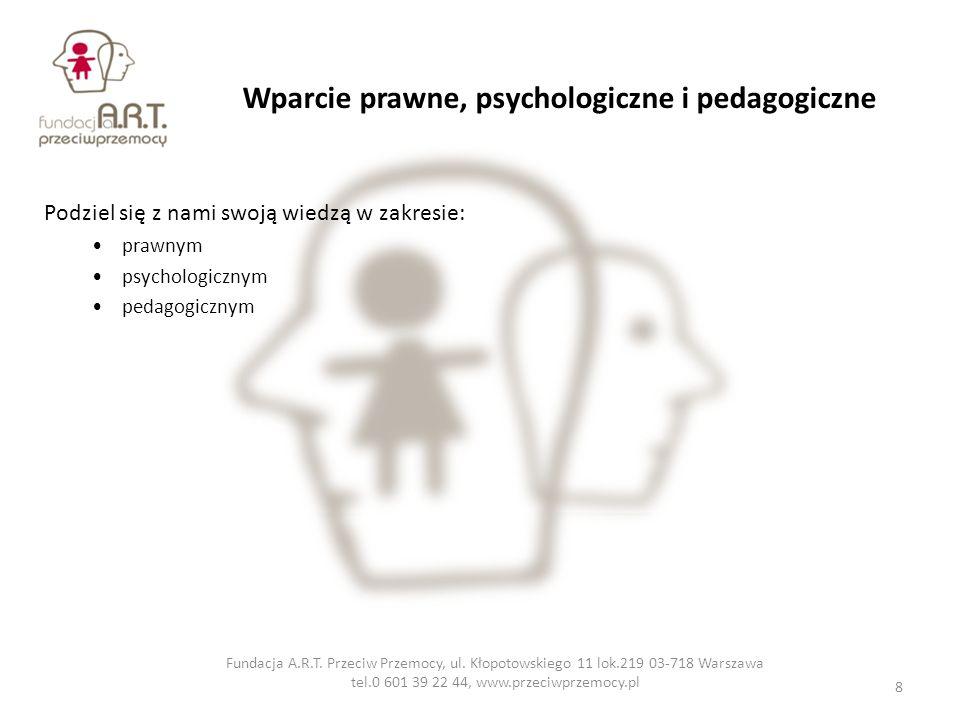 Wparcie prawne, psychologiczne i pedagogiczne Podziel się z nami swoją wiedzą w zakresie: prawnym psychologicznym pedagogicznym Fundacja A.R.T. Przeci