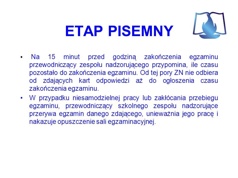 ETAP PISEMNY Na 15 minut przed godziną zakończenia egzaminu przewodniczący zespołu nadzorującego przypomina, ile czasu pozostało do zakończenia egzaminu.