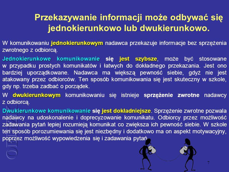 7 Przekazywanie informacji może odbywać się jednokierunkowo lub dwukierunkowo. jednokierunkowym W komunikowaniu jednokierunkowym nadawca przekazuje in