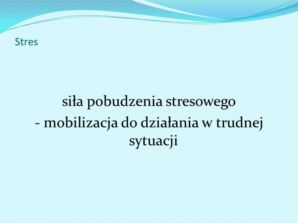 Stres siła pobudzenia stresowego - mobilizacja do działania w trudnej sytuacji