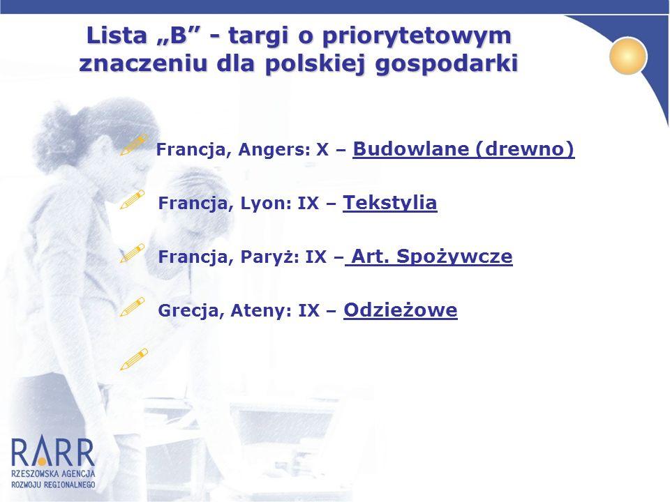 Lista B - targi o priorytetowym znaczeniu dla polskiej gospodarki ! Francja, Angers: X – Budowlane (drewno) ! Francja, Lyon: IX – Tekstylia ! Francja,