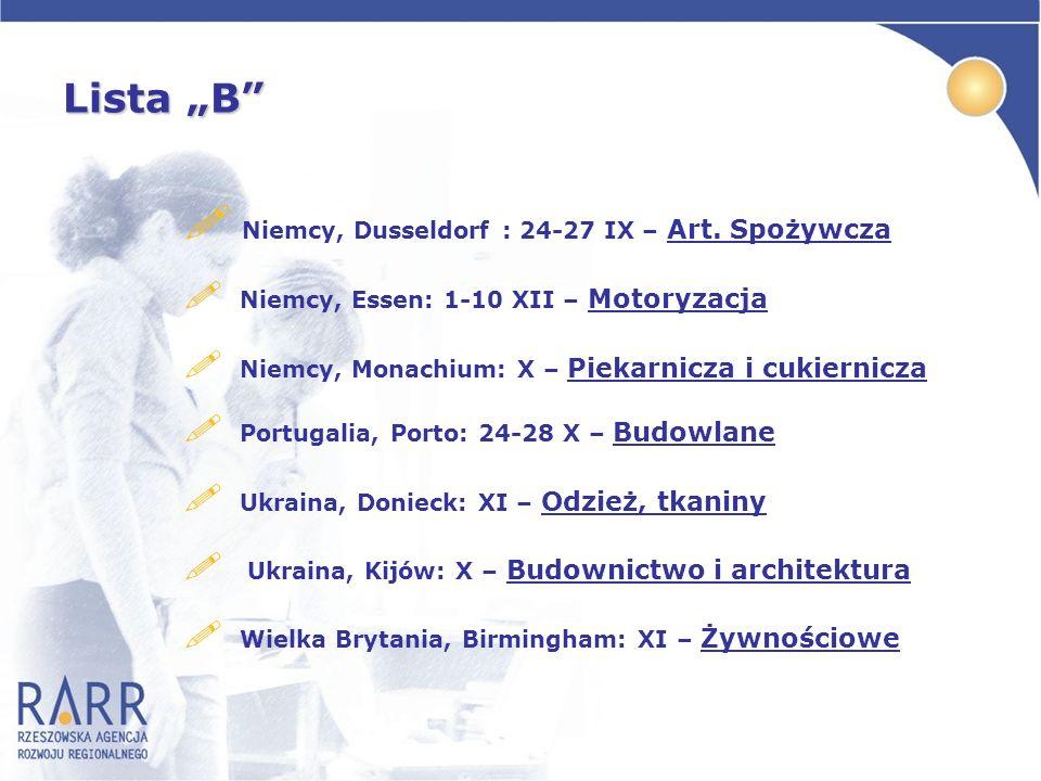 Lista B ! Niemcy, Dusseldorf : 24-27 IX – Art. Spożywcza ! Niemcy, Essen: 1-10 XII – Motoryzacja ! Niemcy, Monachium: X – Piekarnicza i cukiernicza !