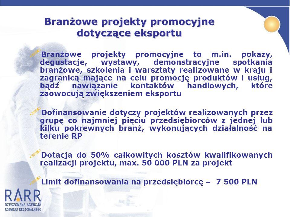 Branżowe projekty promocyjne dotyczące eksportu ! Branżowe projekty promocyjne to m.in. pokazy, degustacje, wystawy, demonstracyjne spotkania branżowe