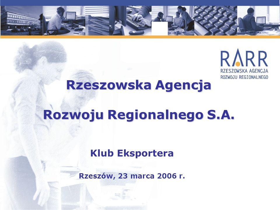 Rzeszowska Agencja Rozwoju Regionalnego S.A. Klub Eksportera Rzeszów, 23 marca 2006 r.