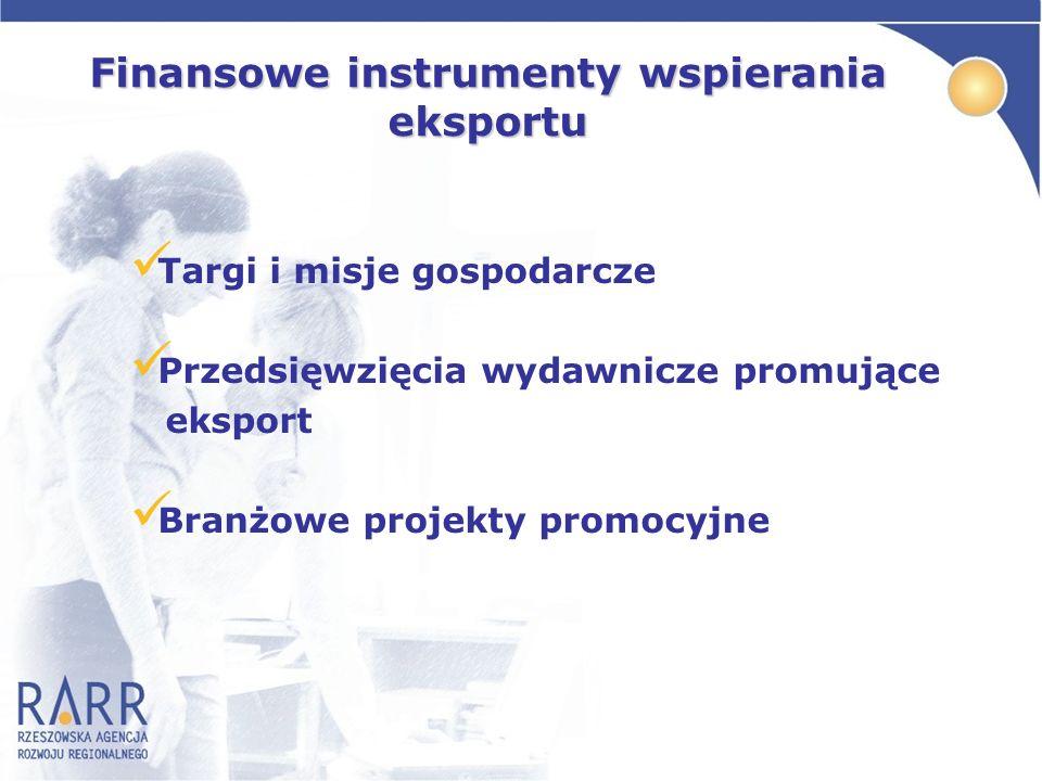Targi i misje gospodarcze Przedsięwzięcia wydawnicze promujące eksport Branżowe projekty promocyjne Finansowe instrumenty wspierania eksportu