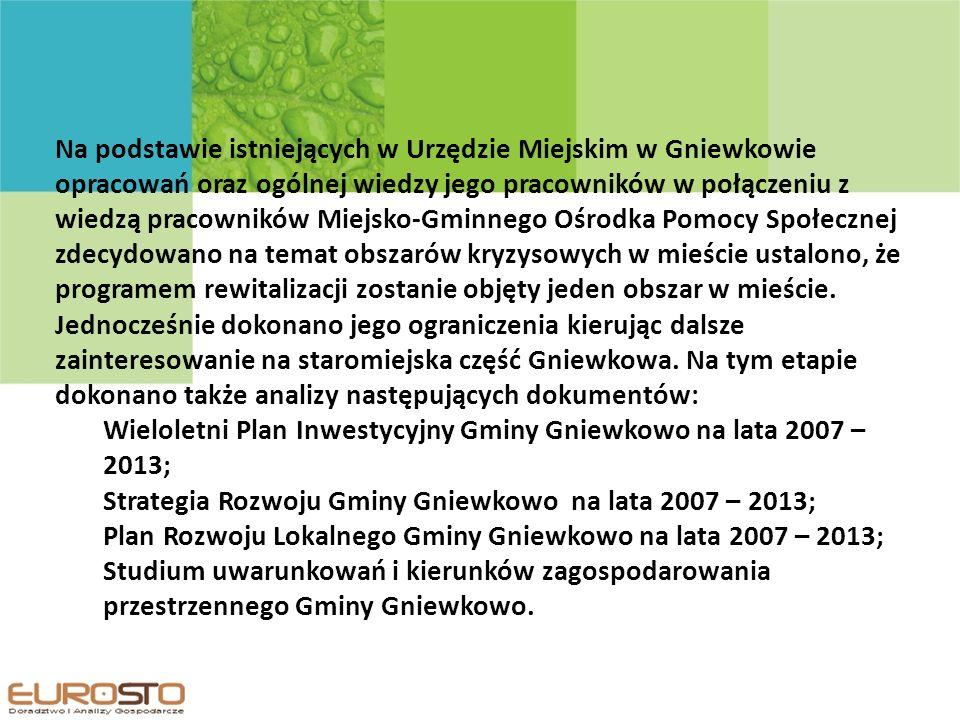 Na podstawie istniejących w Urzędzie Miejskim w Gniewkowie opracowań oraz ogólnej wiedzy jego pracowników w połączeniu z wiedzą pracowników Miejsko-Gminnego Ośrodka Pomocy Społecznej zdecydowano na temat obszarów kryzysowych w mieście ustalono, że programem rewitalizacji zostanie objęty jeden obszar w mieście.