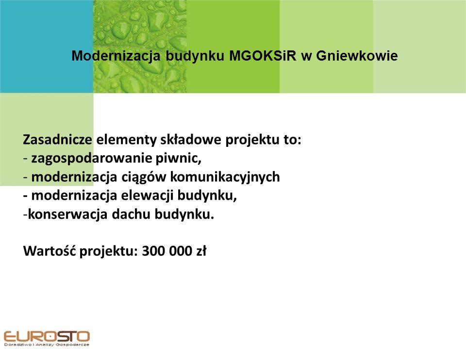 Modernizacja budynku MGOKSiR w Gniewkowie Zasadnicze elementy składowe projektu to: - zagospodarowanie piwnic, - modernizacja ciągów komunikacyjnych - modernizacja elewacji budynku, -konserwacja dachu budynku.