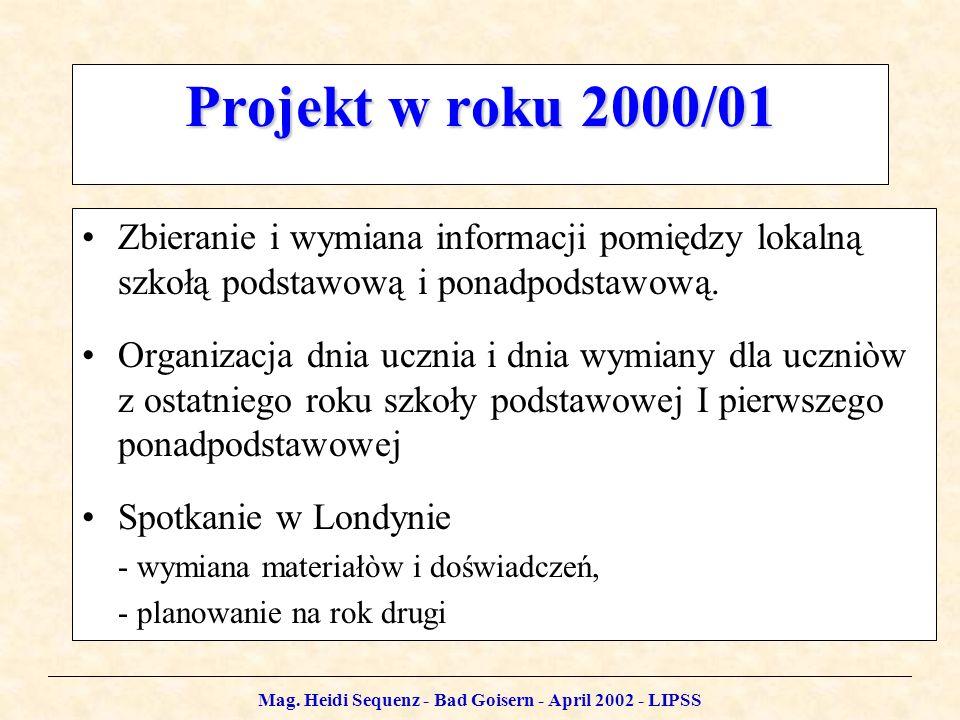 Mag. Heidi Sequenz - Bad Goisern - April 2002 - LIPSS Projekt w roku 2000/01 Zbieranie i wymiana informacji pomiędzy lokalną szkołą podstawową i ponad