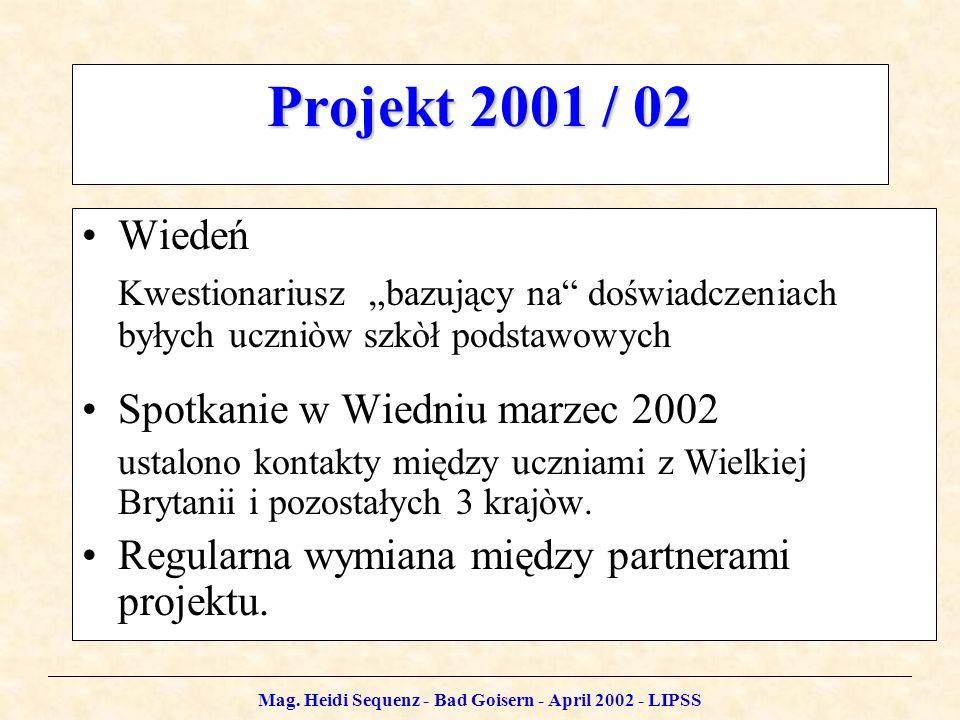 Mag. Heidi Sequenz - Bad Goisern - April 2002 - LIPSS Projekt 2001 / 02 Wiedeń Kwestionariusz bazujący na doświadczeniach byłych uczniòw szkòł podstaw