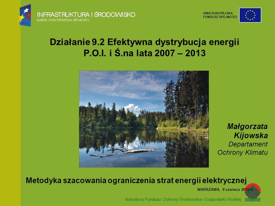 Narodowy Fundusz Ochrony Środowiska i Gospodarki Wodnej UNIA EUROPEJSKA FUNDUSZ SPÓJNOŚCI Działanie 9.2 Efektywna dystrybucja energii P.O.I. i Ś.na la