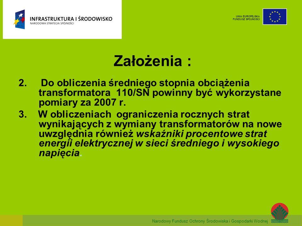 Narodowy Fundusz Ochrony Środowiska i Gospodarki Wodnej UNIA EUROPEJSKA FUNDUSZ SPÓJNOŚCI Założenia : 2. Do obliczenia średniego stopnia obciążenia tr