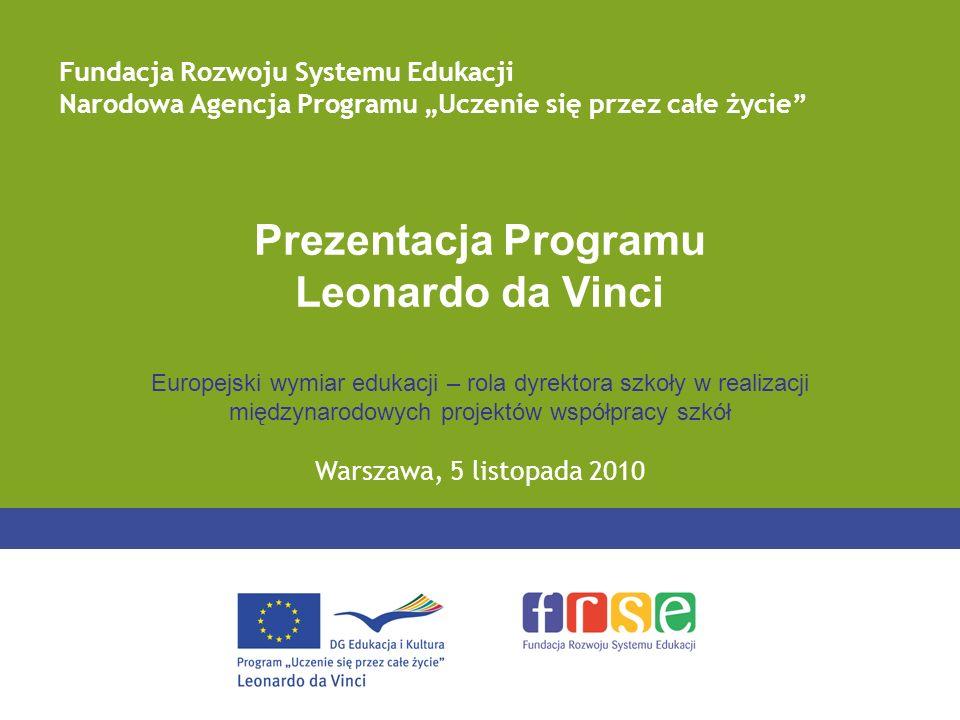 Prezentacja Programu Leonardo da Vinci Europejski wymiar edukacji – rola dyrektora szkoły w realizacji międzynarodowych projektów współpracy szkół War