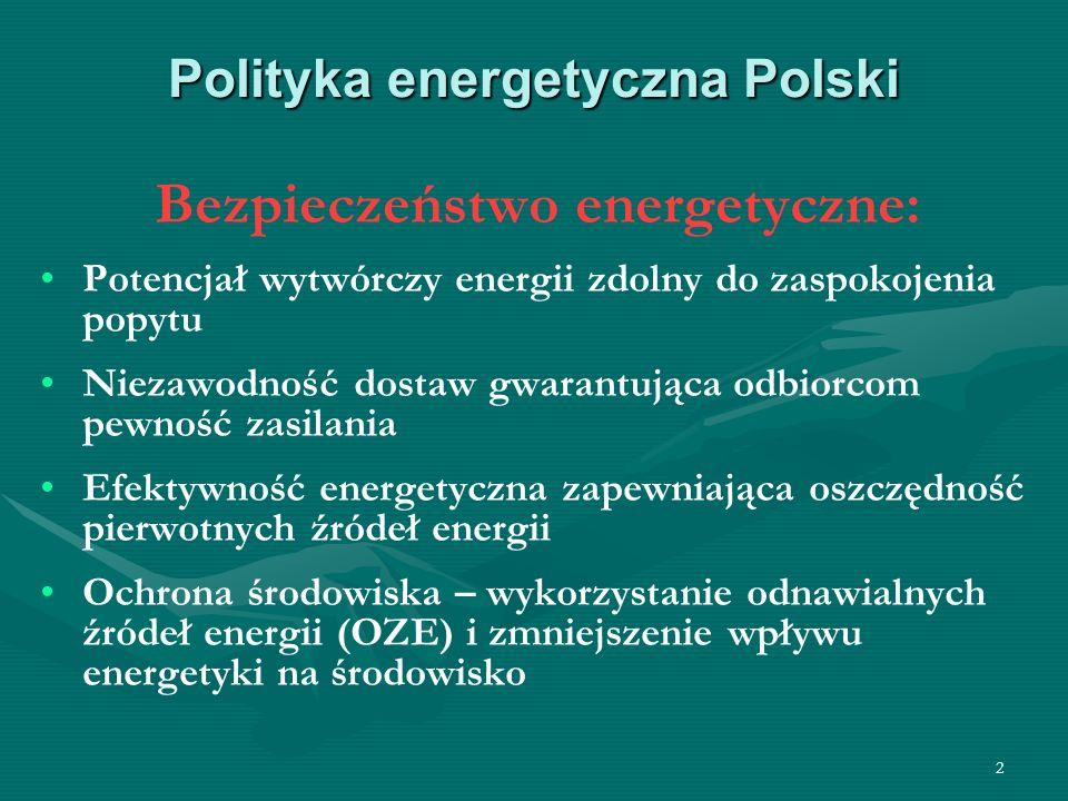 2 Polityka energetyczna Polski Bezpieczeństwo energetyczne: Potencjał wytwórczy energii zdolny do zaspokojenia popytu Niezawodność dostaw gwarantująca
