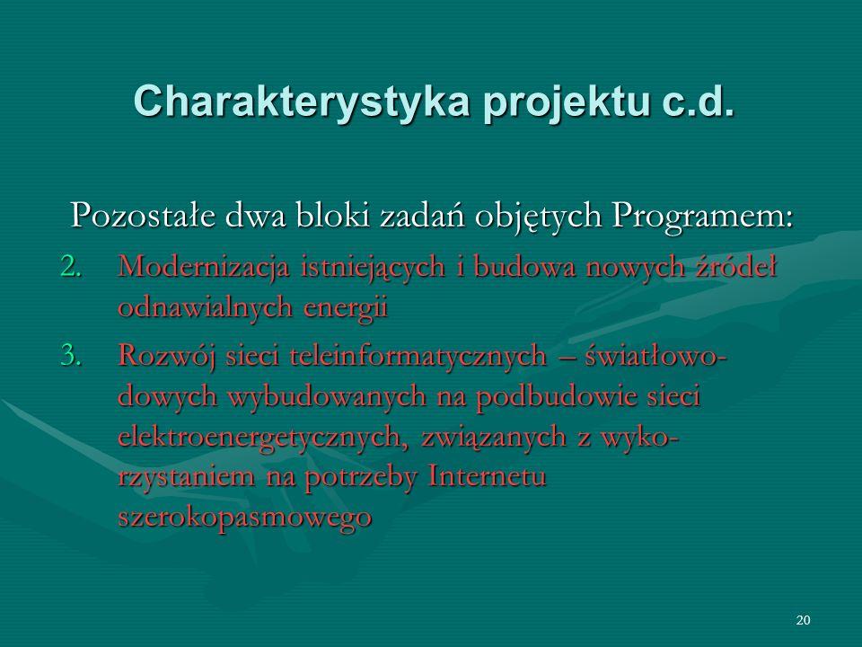 20 Charakterystyka projektu c.d. Pozostałe dwa bloki zadań objętych Programem: 2.Modernizacja istniejących i budowa nowych źródeł odnawialnych energii