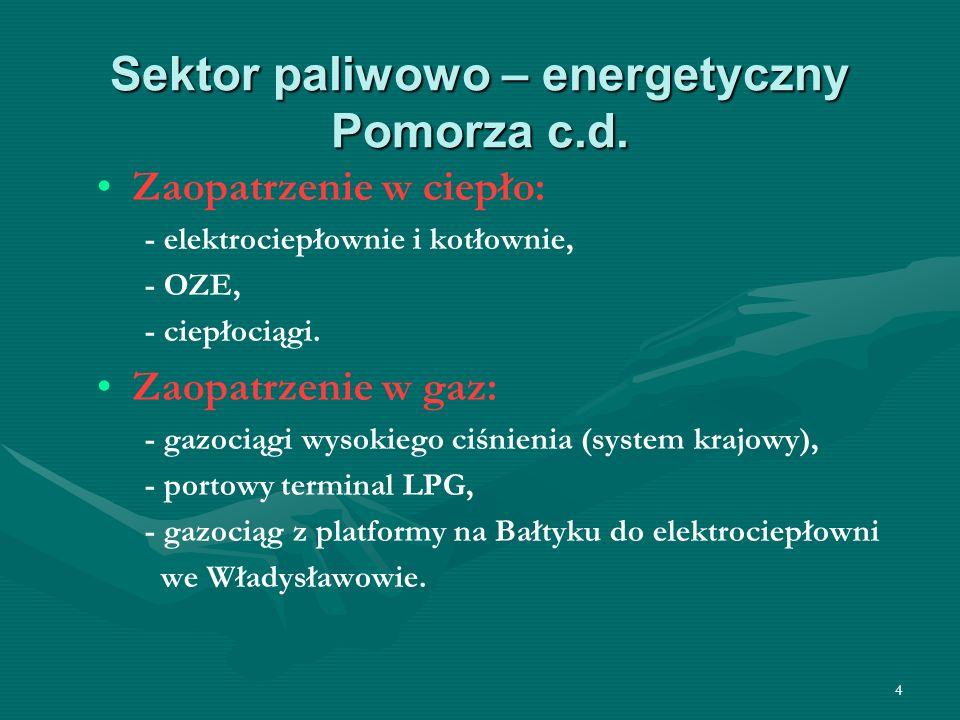 4 Sektor paliwowo – energetyczny Pomorza c.d. Zaopatrzenie w ciepło: - elektrociepłownie i kotłownie, - OZE, - ciepłociągi. Zaopatrzenie w gaz: - gazo