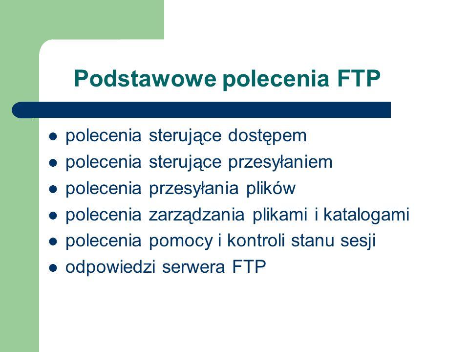 Podstawowe polecenia FTP polecenia sterujące dostępem polecenia sterujące przesyłaniem polecenia przesyłania plików polecenia zarządzania plikami i ka