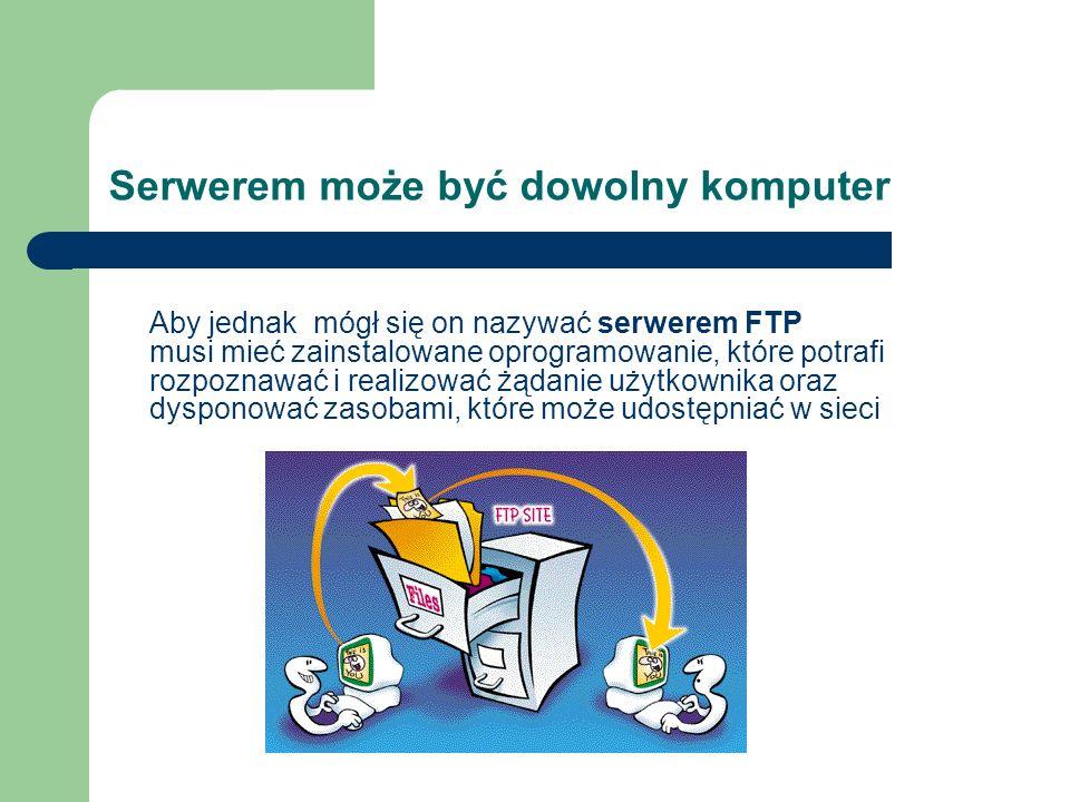 Serwerem może być dowolny komputer Aby jednak mógł się on nazywać serwerem FTP musi mieć zainstalowane oprogramowanie, które potrafi rozpoznawać i rea