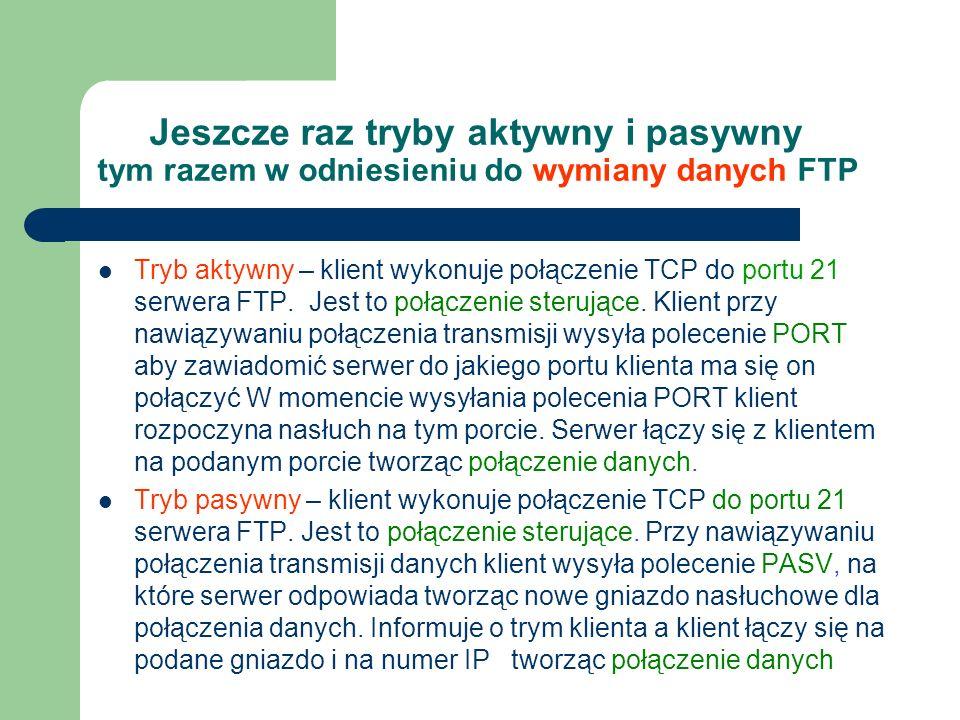 Jeszcze raz tryby aktywny i pasywny tym razem w odniesieniu do wymiany danych FTP Tryb aktywny – klient wykonuje połączenie TCP do portu 21 serwera FT