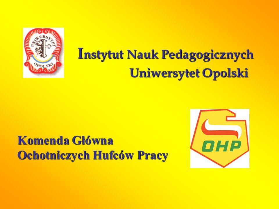 I nstytut Nauk Pedagogicznych Uniwersytet Opolski Komenda Główna Ochotniczych Hufców Pracy