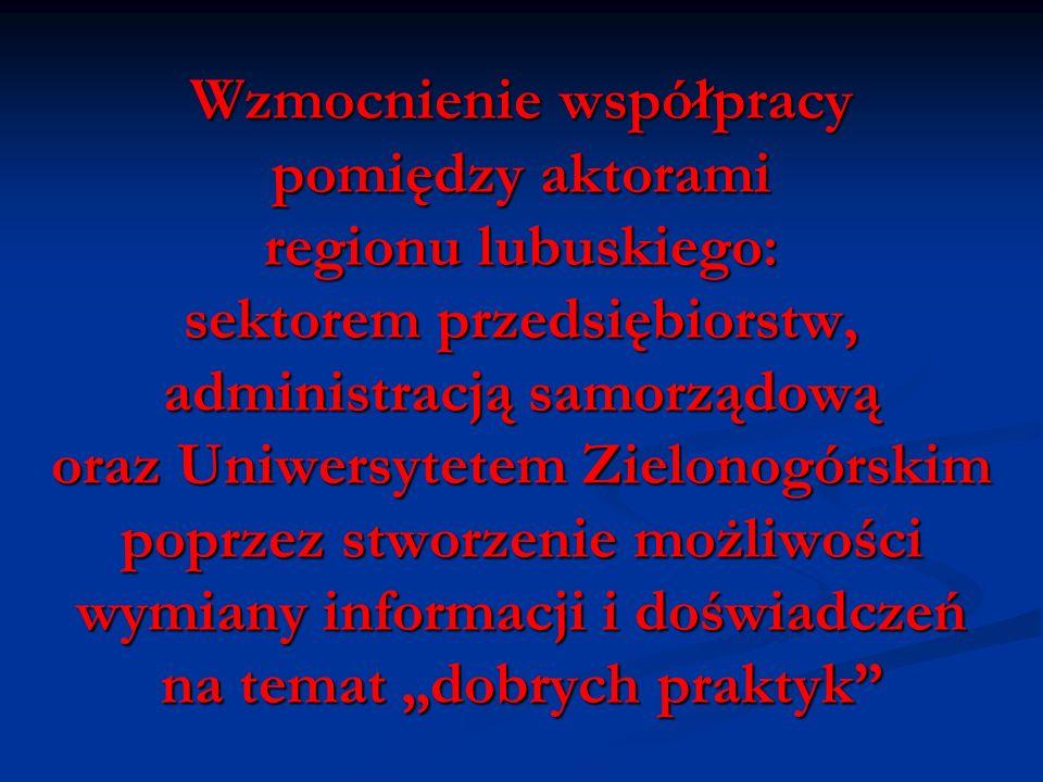 Wzmocnienie współpracy pomiędzy aktorami regionu lubuskiego: sektorem przedsiębiorstw, administracją samorządową oraz Uniwersytetem Zielonogórskim pop