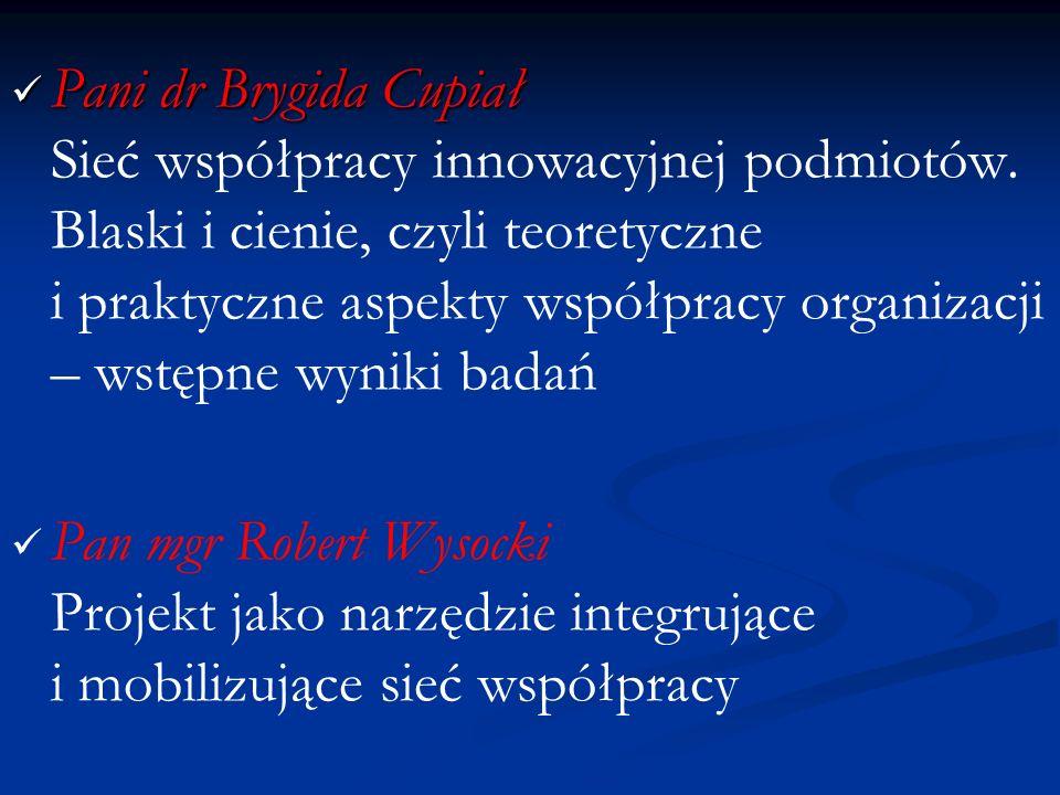 Pani dr Brygida Cupiał Pani dr Brygida Cupiał Sieć współpracy innowacyjnej podmiotów. Blaski i cienie, czyli teoretyczne i praktyczne aspekty współpra