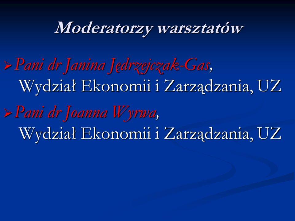 Moderatorzy warsztatów Pani dr Janina Jędrzejczak-Gas, Wydział Ekonomii i Zarządzania, UZ Pani dr Janina Jędrzejczak-Gas, Wydział Ekonomii i Zarządzan