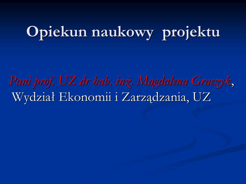 Opiekun naukowy projektu Pani prof. UZ dr hab. inż. Magdalena Graczyk, Wydział Ekonomii i Zarządzania, UZ Pani prof. UZ dr hab. inż. Magdalena Graczyk