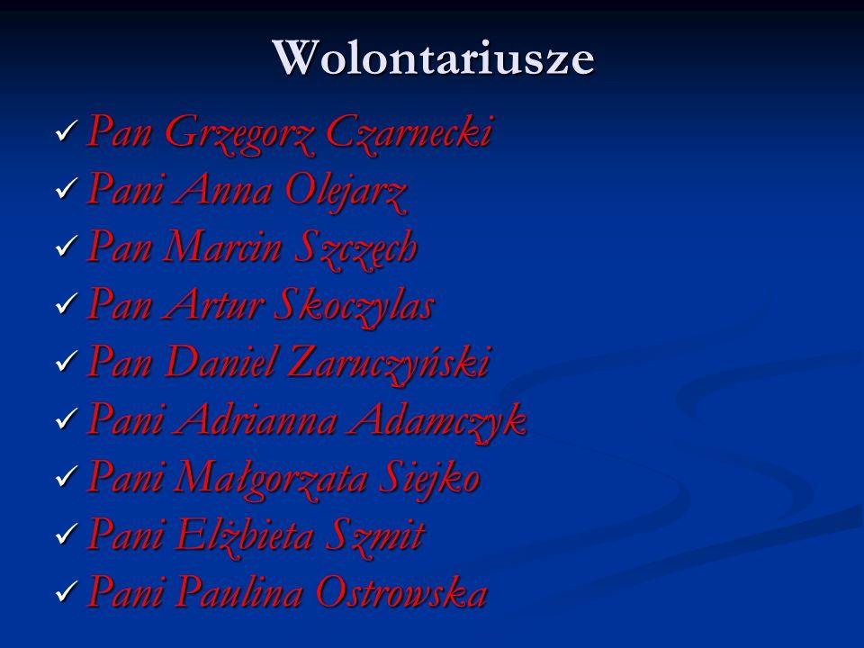 Wolontariusze Pan Grzegorz Czarnecki Pan Grzegorz Czarnecki Pani Anna Olejarz Pani Anna Olejarz Pan Marcin Szczęch Pan Marcin Szczęch Pan Artur Skoczy
