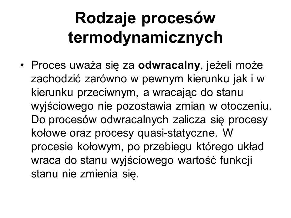 Rodzaje procesów termodynamicznych Proces uważa się za odwracalny, jeżeli może zachodzić zarówno w pewnym kierunku jak i w kierunku przeciwnym, a wrac
