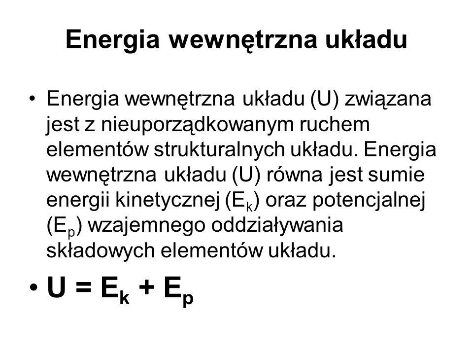 Energia wewnętrzna układu Energia wewnętrzna układu (U) związana jest z nieuporządkowanym ruchem elementów strukturalnych układu. Energia wewnętrzna u