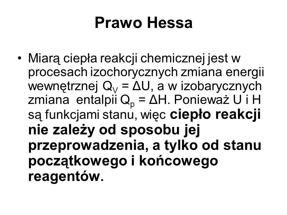 Prawo Hessa Miarą ciepła reakcji chemicznej jest w procesach izochorycznych zmiana energii wewnętrznej Q V = ΔU, a w izobarycznych zmiana entalpii Q p