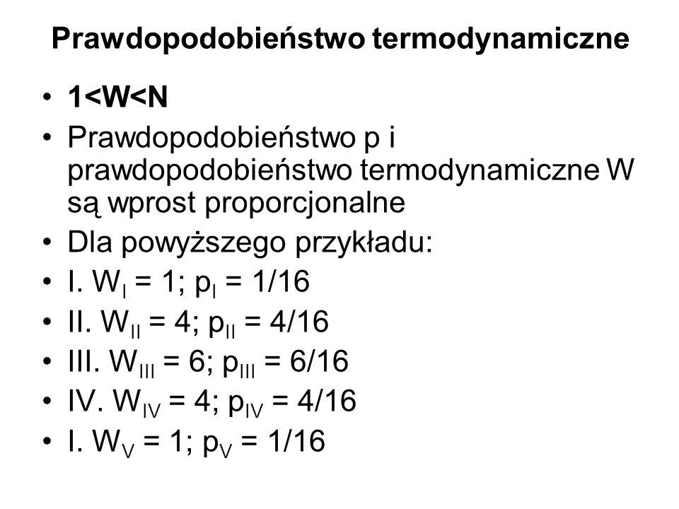 Prawdopodobieństwo termodynamiczne 1<W<N Prawdopodobieństwo p i prawdopodobieństwo termodynamiczne W są wprost proporcjonalne Dla powyższego przykładu