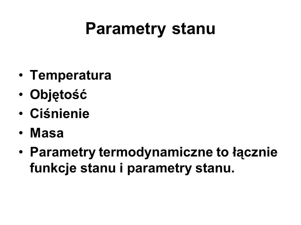 Parametry stanu Temperatura Objętość Ciśnienie Masa Parametry termodynamiczne to łącznie funkcje stanu i parametry stanu.