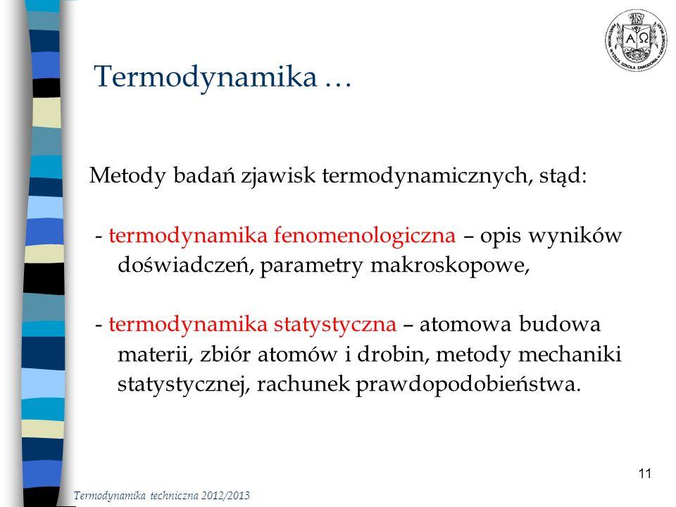 11 Metody badań zjawisk termodynamicznych, stąd: - termodynamika fenomenologiczna – opis wyników doświadczeń, parametry makroskopowe, - termodynamika