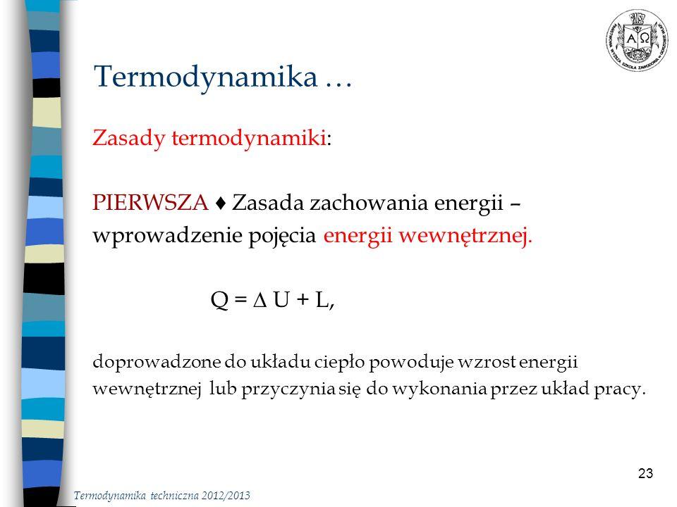 23 Zasady termodynamiki: PIERWSZA Zasada zachowania energii – wprowadzenie pojęcia energii wewnętrznej. Q = U + L, doprowadzone do układu ciepło powod